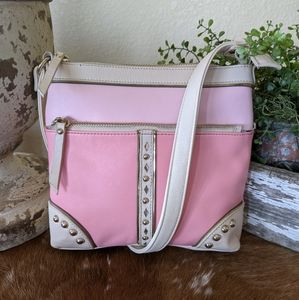 Vintage Sharif Pink Leather Studded Crossbody